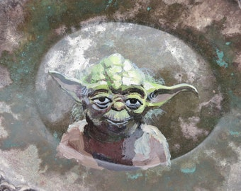 Yoda Miniature Portrait, original painting on plate