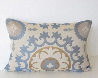 Roman circle indigo 12x18 suzani medallion blue antique gold lumbar pillow cover