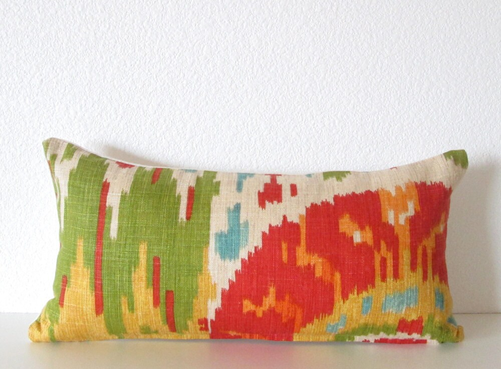 Decorative pillow cover Mini Lumbar 8x16 Red Green