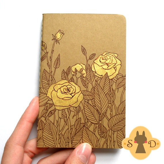Hand painted Moleskine Cahier plain pocket size - Roses - The Hair and Roses collection