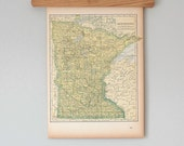 1940s Antique State Maps of Minnesota and Mississippi