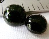 Fused Glass Cabochons 12 mm Set of 2 Aventurine Green