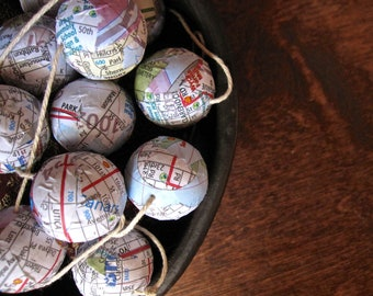 City Map Ball Garland - Choose Your City - NYC, Boston, Denver, Portland, Seattle, Paris, Chicago, San Francisco, and more
