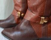 Vintage Brown Leather Dingo Boots 80s era Womens 6
