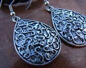 Carmen // Antique Silver Finish Teardrop Earrings
