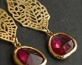 Chandelier Earrings-Garnet Glass-Bridesmaid Earrings-Spring Fashion