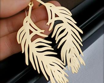 Chandelier Earrings-Feathers-Modern Gold Feather Earrings-Coachella Jewelry