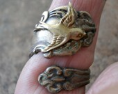 Antiqued Brass Spoon Ring with Swooping Sparrow, Exclusive Design Only by Enchanted Lockets