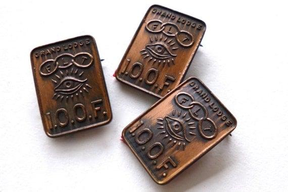 Antique Odd Fellows Fraternal Pins Copper 3pc