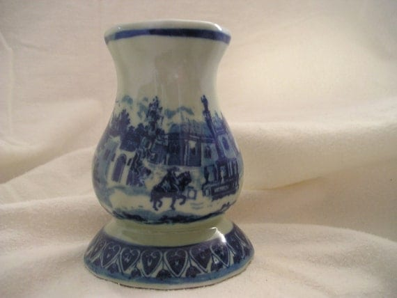 Vintage Victopia Ironstone Blue Hat Pin Holder