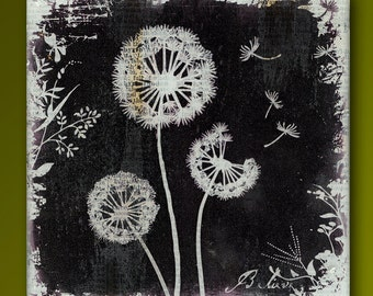 Dandelion Friends  Handmade Glass and Wood Wall Blox from Upcycled Dictionary page book art - WilD WorDz - Dandilion 4 of 4 Believe