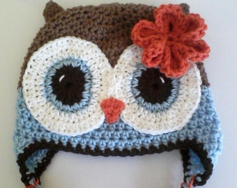 Brown, blue and Orange Owl Hat