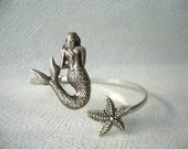 silver mermaid bracelet, animal bracelet, charm bracelet, bangle