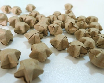 100 Recycled Craft Paper Brown Origami Lucky Stars - custom order available