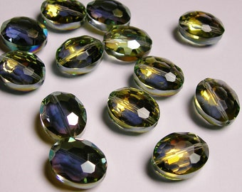 Crystal faceted focal beads oval 8 pcs 20mm by 11mm  AA quality - sparkle yellow and green