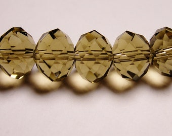 Crystal faceted rondelle -  20 pcs - 12mm by 9mm - AA quality - smoky quartz color