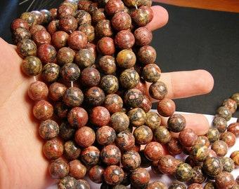 Leopard skin Jasper - 12 mm round beads -1 full strand - 33 beads - RFG1013