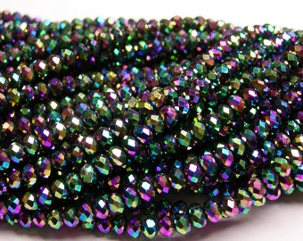 Crystal faceted rondelle -  100 pcs - full strand - 3.5 mm - AA quality - sparkle metallic purple green