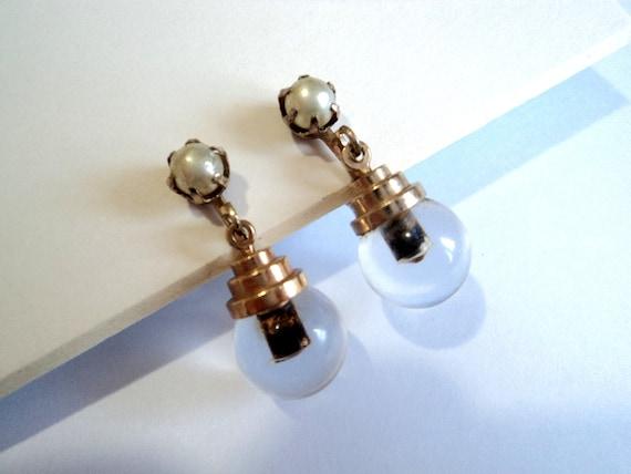 Unusual Mid Century Modernist Earrings... Screw-On