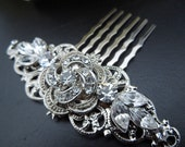 bridal swarovski crystal hair comb wedding rhinestone hair comb bridal crystal hair comb flower hair comb rhinestone hair comb ROSELANI