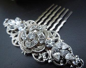 bridal swarovski crystal hair comb wedding rhinestone hair comb bridal crystal hair comb flower hair comb rhinestone hair comb ROSELANI