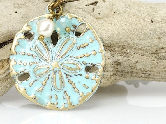 Sand Dollar Necklace Beach Jewelry Turquoise Blue Light Blue Sea Jewelry Ocean Beach Wedding Unique Gift for Women - Antique Brass Necklace