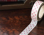Tape-Washi Tape-Masking Tape-Single Roll-Red Polka Dots on White