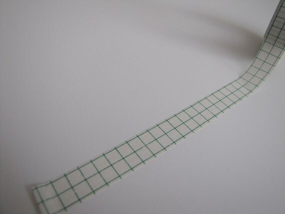 Washi Tape-Masking Tape-Single Roll-Green Grid