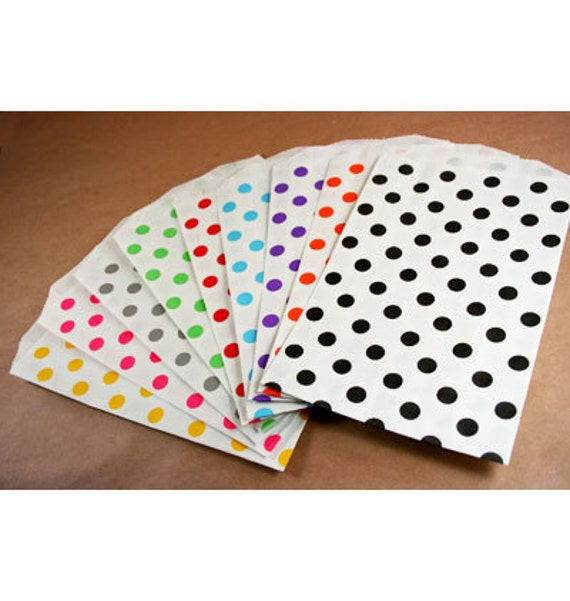 Polka Dot Paper Bag-Middy Bitty Bags-Set of 100-5 x 7.5 Bags-Favor Bags-Treat Bags