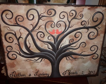 Wedding guestbook thumbprint tree....16 x 20....100-110 guests
