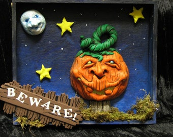 Halloween Night Wall Hanging w/ Jack O Lantern and Moon