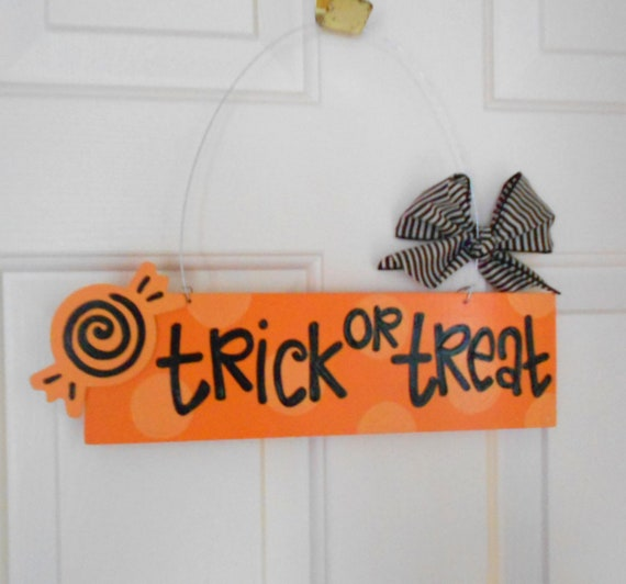 SALE Trick or Treat Halloween polka dot sign with candy