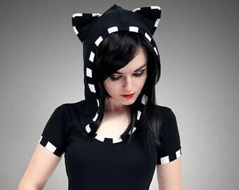 Black Cat Shirt Hoodie stripes ears Kitty kawaii