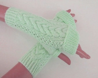 Light Mint  Fingerless Gloves-Mint Water Green Fingerless-Fingerless Mittens-Cable Knit Fingerless Gloves
