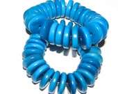 25 Turquoise Sea Blue Tagua Nut Beads, 13mm Rondell Beads, FD, EcoBeads, Natural Beads, Organic Beads, Vegetable Ivory Beads