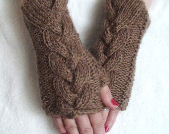 Fingerless Gloves, Cabled Brown Wrist Warmers, Warm Soft Handknit