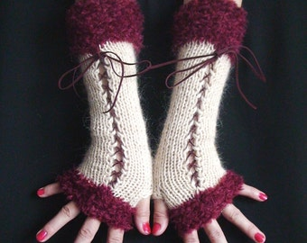 Fingerless Gloves Long  Corset Arm Warmers in Cream and Burgundy Dark Red Victorian Style