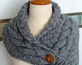Chunky Cowl/ Scarf/ Neck Warmer Handknit Grey Cabled in Alpaca and Merino