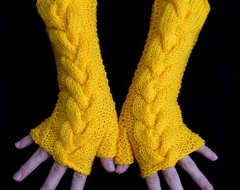 Knit Yellow  Fingerless Gloves  Cabled Arm Wrist Warmers