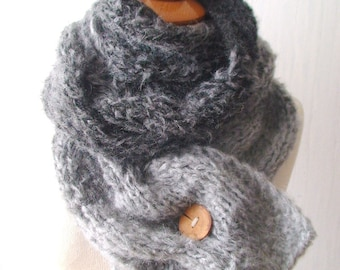 Long Scarf / Cowl Handknit Cabled Soft  in Grey Tones