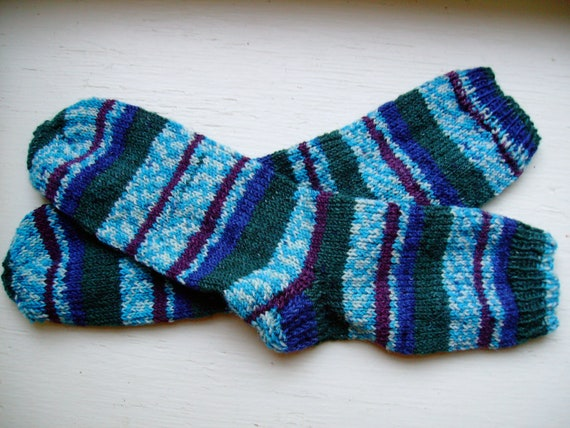 Hand Knit Soft And Warm  Striped Women's Superwash Wool  Socks, Size 9 - 9.5 (10 inches length)