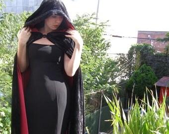 Custom Lined Cape with Hood, Steampunk/Goth/Vampire/Jedi/Wizard Cloak