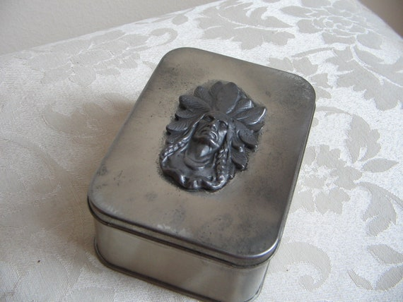 Vintage Native American Indian Head Silver Metal Box, Headdress, Tobacciana Tin USA