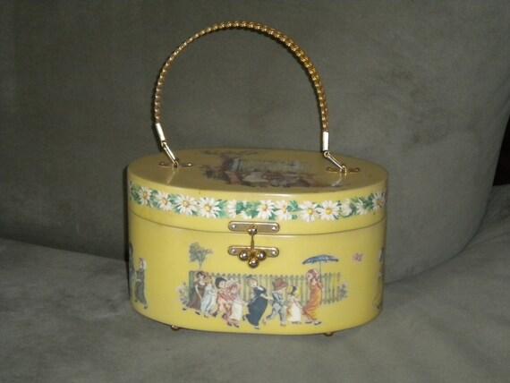 Vintage 70s Box Purse // Decopauge Handbag Signed by Artist