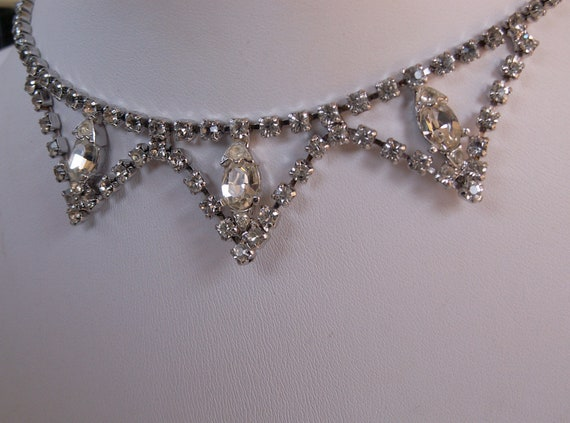 Vintage Necklace Rhinestone Choker Classic Design Gorgeous 1950s