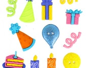 Jesse James Buttons Dress It Up Happy Birthday Cake Party Hats Candles Balloons