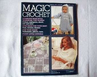 Magic Crochet Magazine, february 1984 issue 29 Vintage Crochet Pattern Book Thread, Doilies, Doily Patterns, Thread Crochet patterns