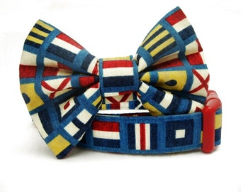 Nautical Bow Tie Dog Collar - Nautical Flags