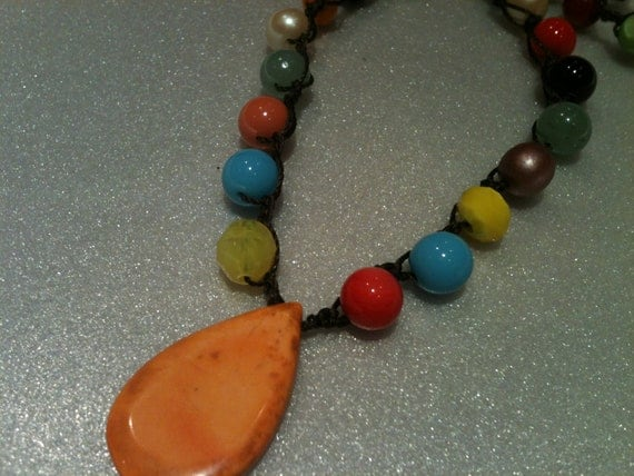 STATEMENT Necklace STONE Tear Drop Orange Pendant Multi colored Beaded  Brown Thread / under 35 dollars Any Season // Dressy // Casual Wear