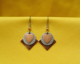 Sweet Heart copper and silver earrings (Style #440S)